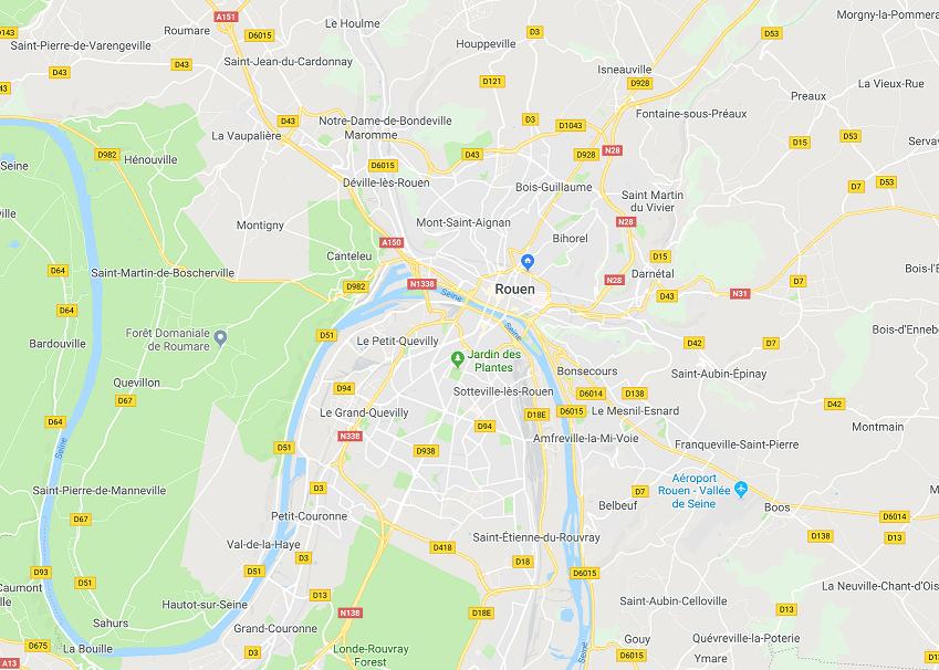 Rouen Informatique - carte de la zone d'intervention